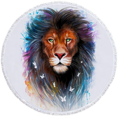Round Beach Towel-The Original Lion Spirit Towel + Backpack-Coastal Passion