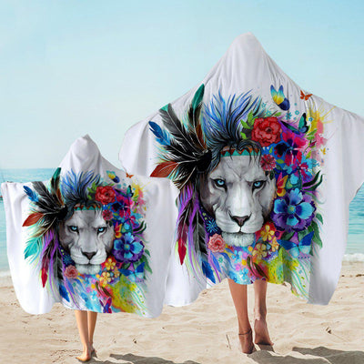 Hooded Beach Towel-The Original Lion Vibes Hooded Towel-Coastal Passion
