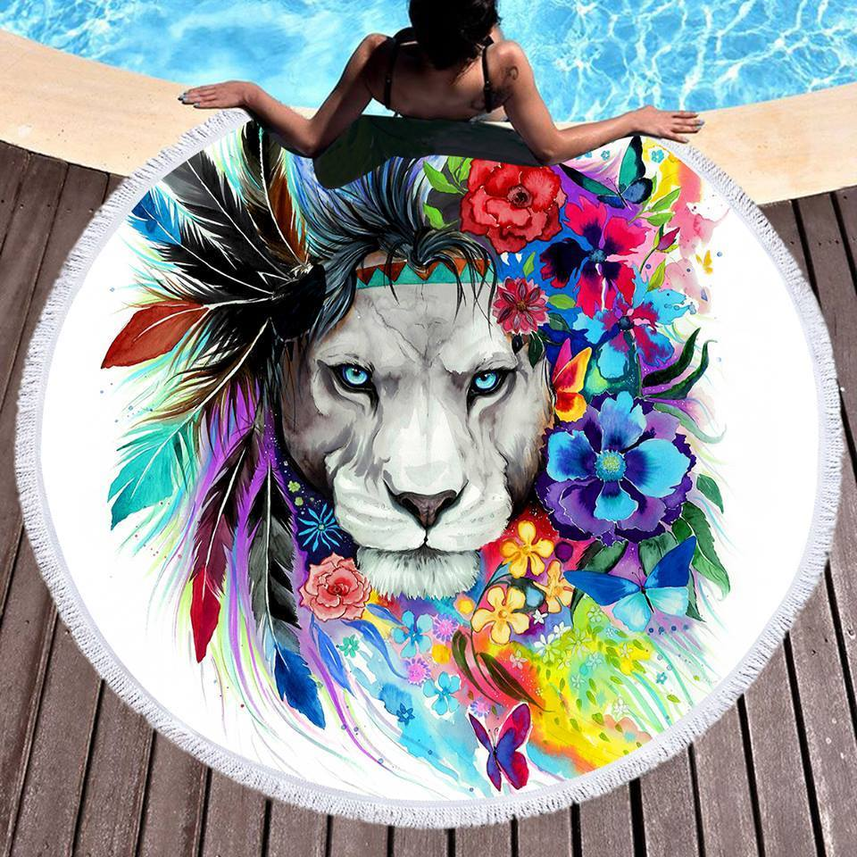 The Original Lion Vibes Round Beach Towel
