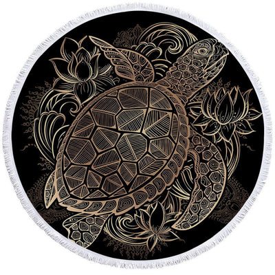 Round Beach Towel-The Original Sea Turtle Lotus Towel + Backpack-Coastal Passion