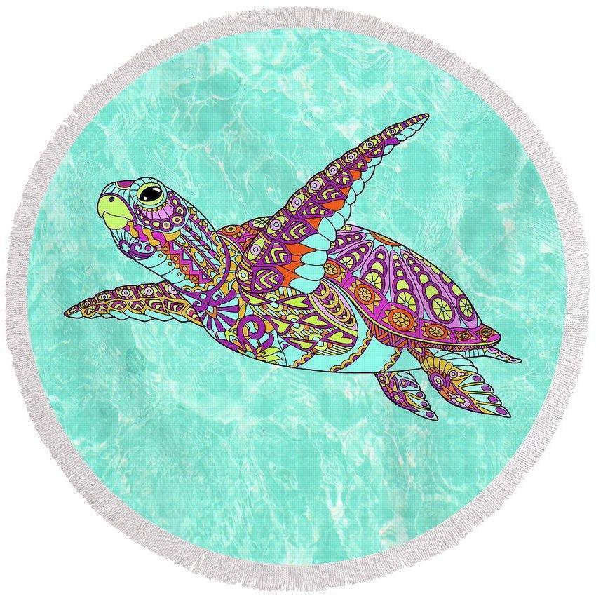The Original Sea Turtle Spirit Round Beach Towel