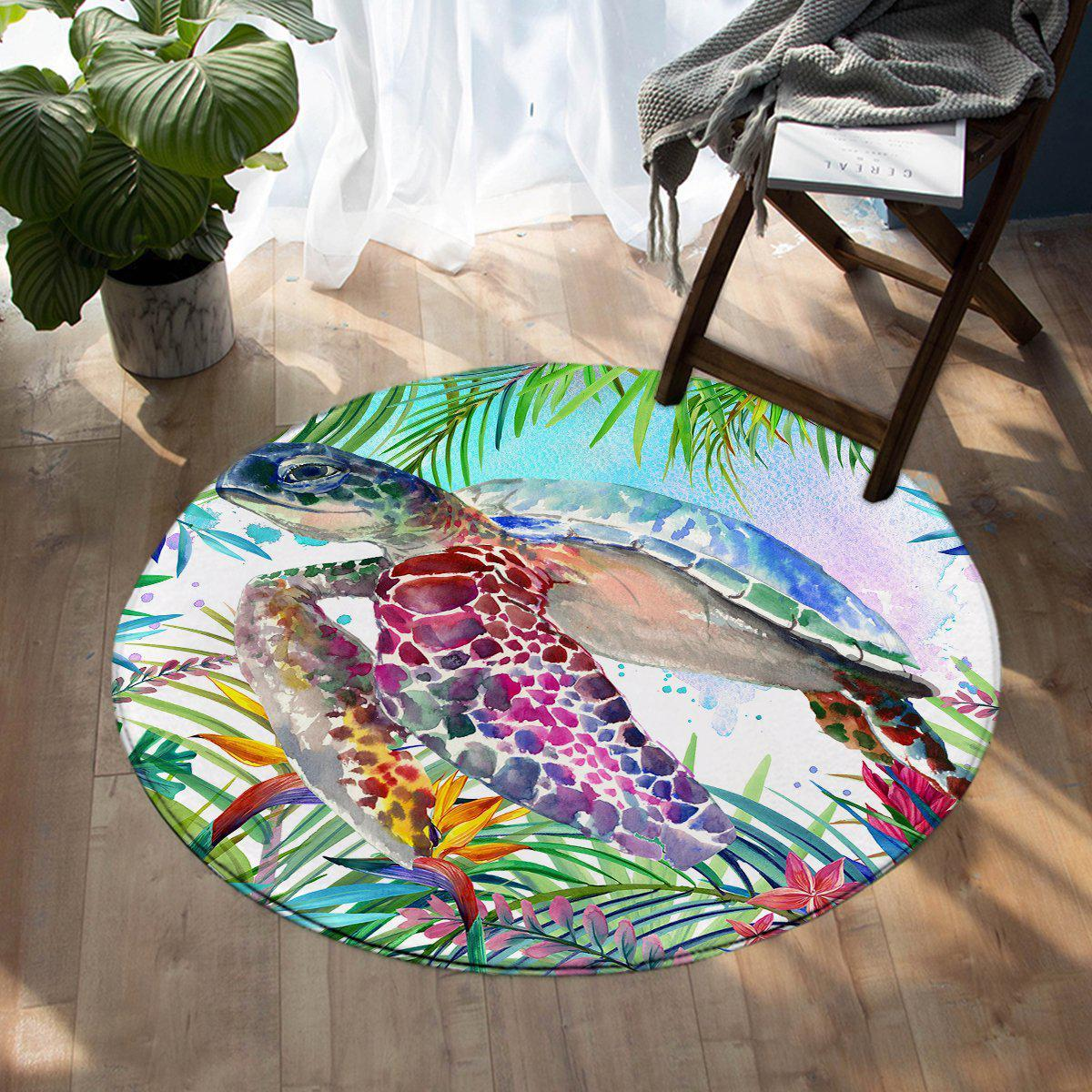 -The Original Tropical Sea Turtle Round Area Rug-Coastal Passion
