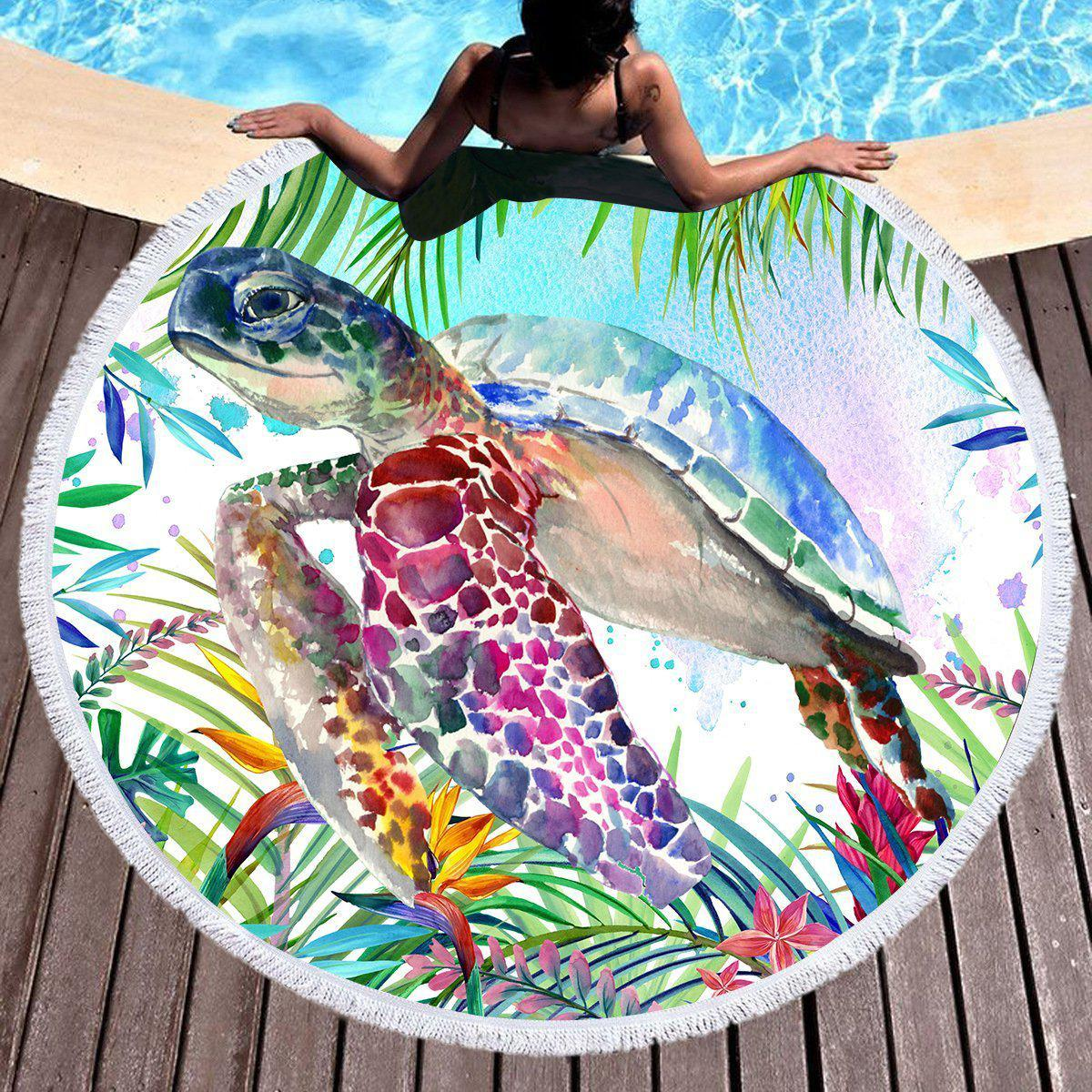 The Original Tropical Sea Turtle Round Beach Towel
