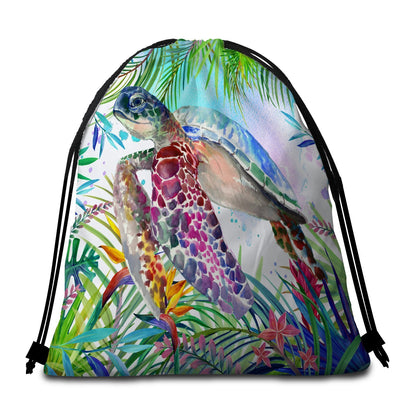 Round Beach Towel-The Original Tropical Sea Turtle Towel + Backpack-Coastal Passion