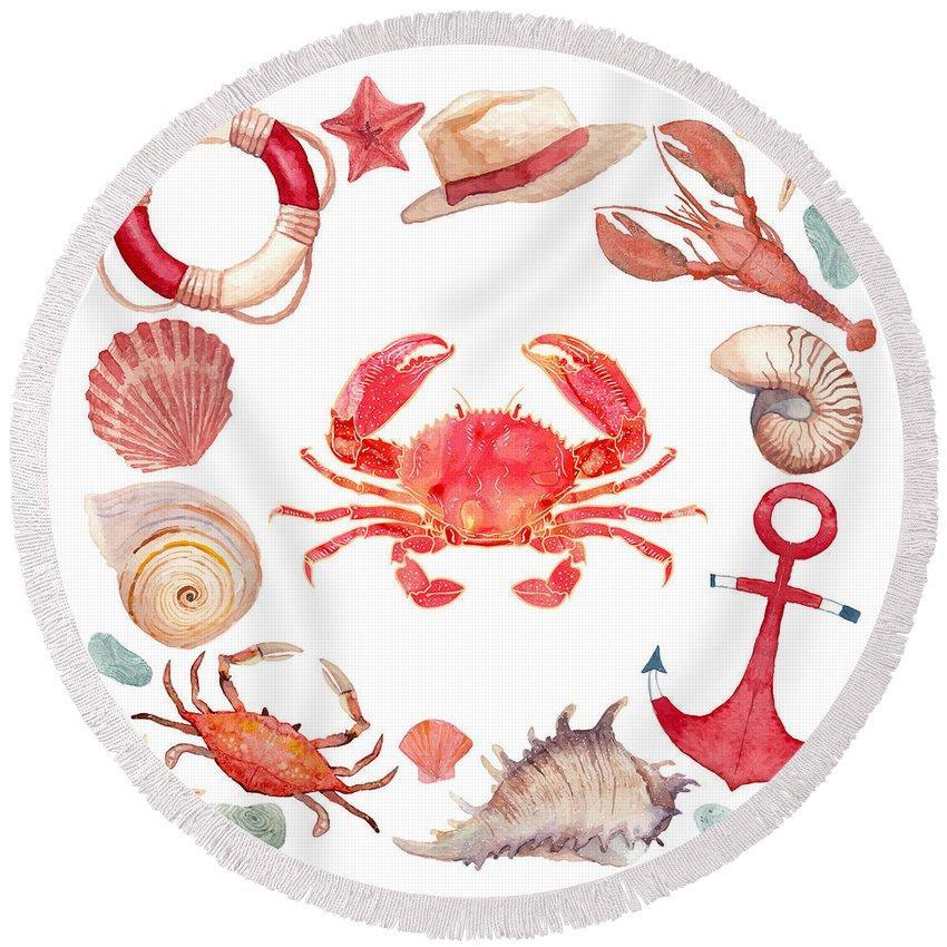 The Red Crab Round Beach Towel-Round Beach Towel-Coastal Passion