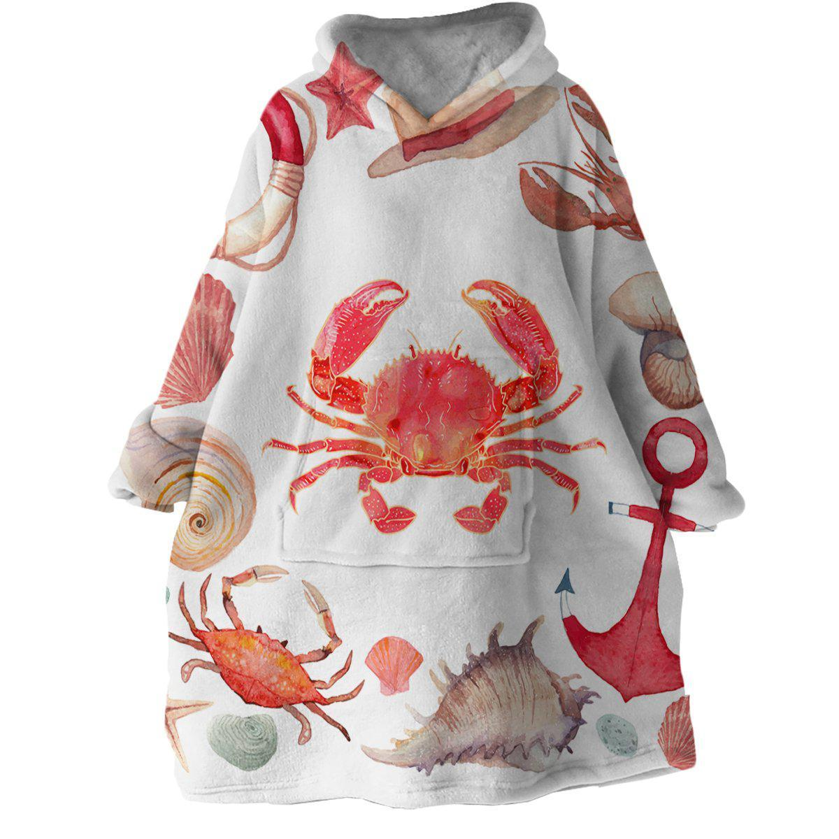 The Red Crab Wearable Blanket Hoodie-Coastal Passion