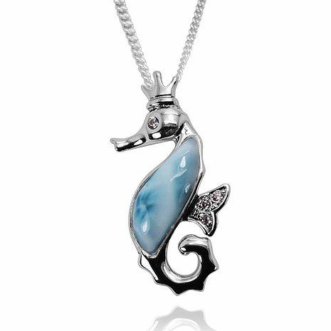 The Royal Seahorse Pendant with Larimar-Coastal Passion