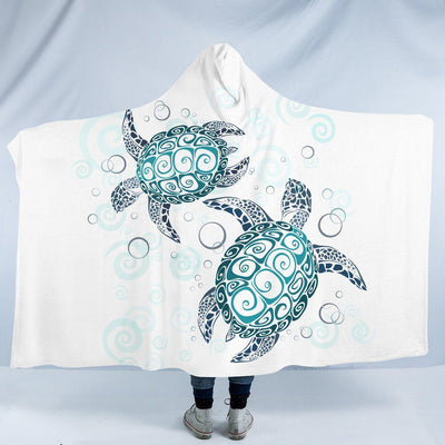 "The Sea Turtle Twist Cozy Hooded Blanket-Fleece Hooded Blanket-Adults Size 80"" x 60""-Coastal Passion"