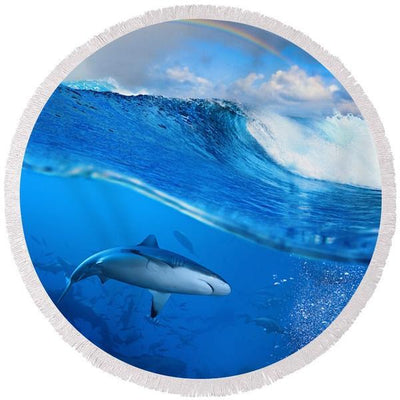Round Beach Towel-The Sharks Collection of Round Beach Towels-Coastal Passion