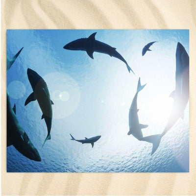 Beach Towel-The Sharks Extra Large Towel-Coastal Passion