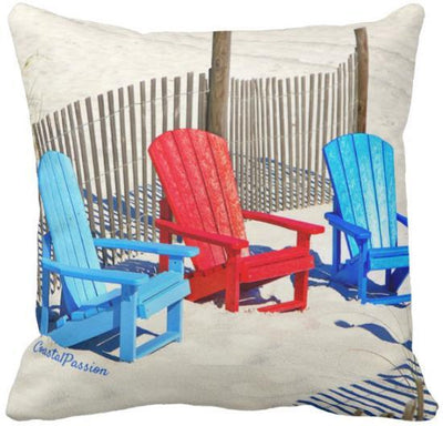 "The Summer Collection NEW!-Pillow Cover-Design 4-17"" x 17""-Standard: Linen Blend-Coastal Passion"