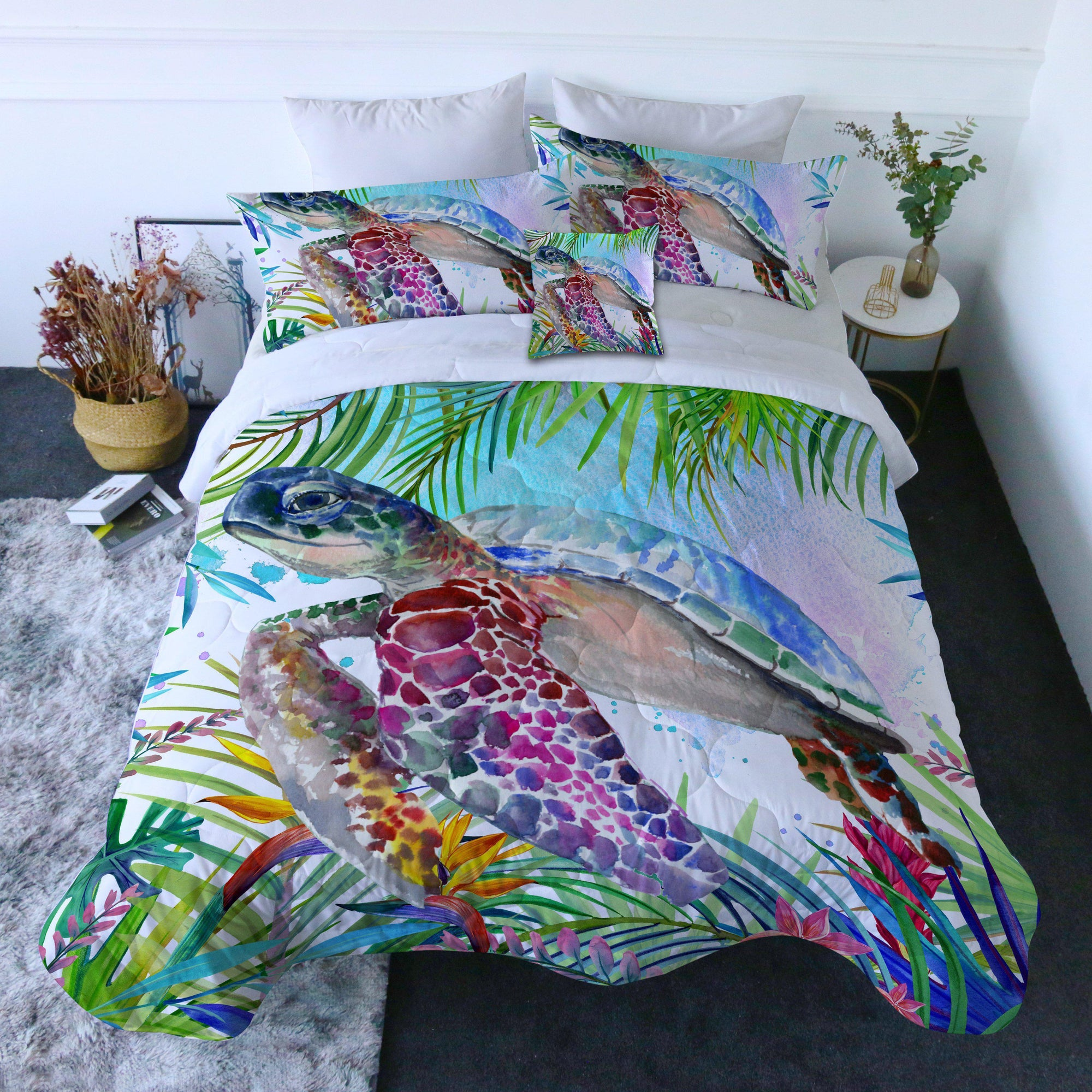 Duvet Comforter Bedding Set-The Tropical Sea Turtle Quilt Set-Coastal Passion