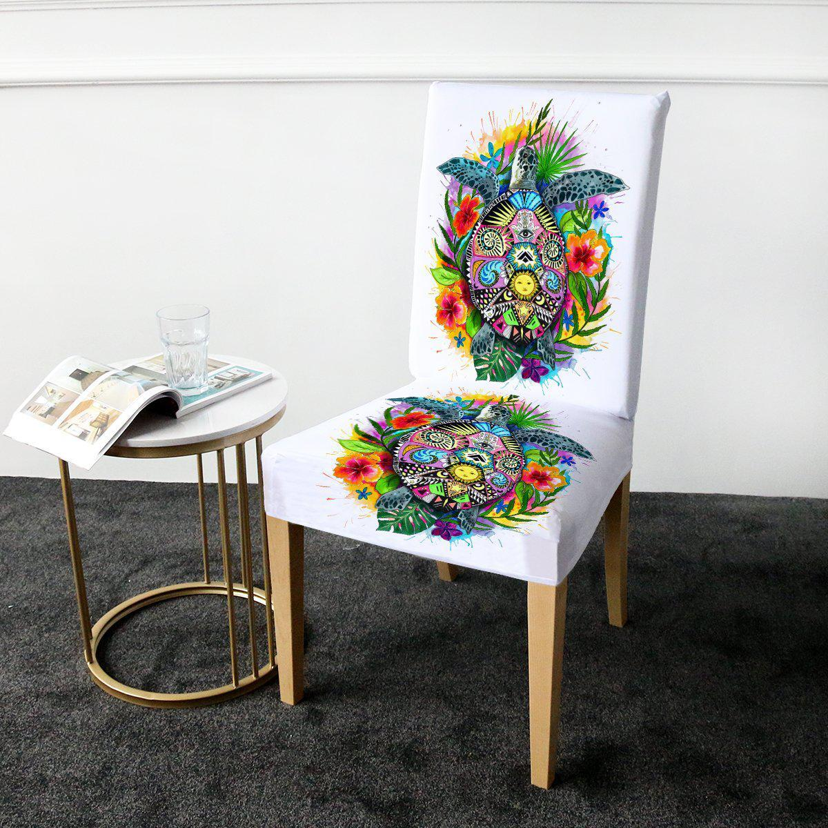 Dining Chair Cover-The Turtle Mystic Chair Cover-Coastal Passion