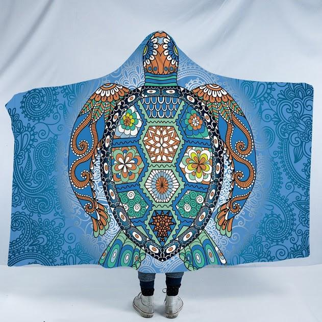 "The Turtle Totem Cozy Hooded Blanket-Fleece Hooded Blanket-Adults Size 80"" x 60""-Coastal Passion"