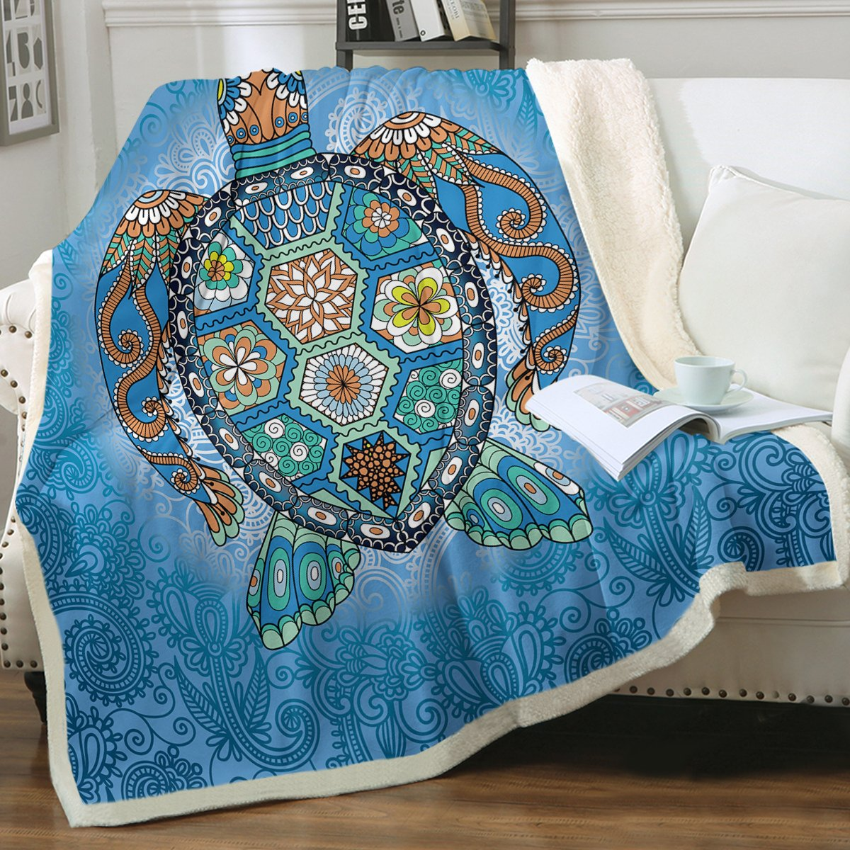 The Turtle Totem Soft Sherpa Blanket-Coastal Passion