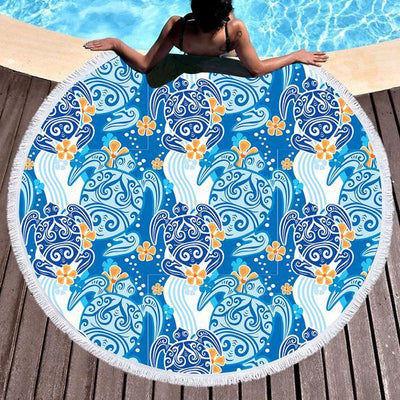 Round Beach Towel-The Turtle Tribe Round Beach Towel-Coastal Passion