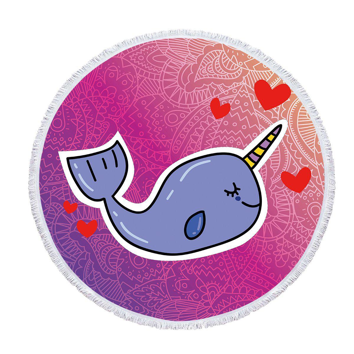 "Round Beach Towel-The Unicorn Whale - Baby Size 40""-Coastal Passion"