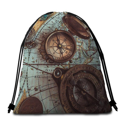 Round Beach Towel-The World Wanderer Towel + Backpack-Coastal Passion