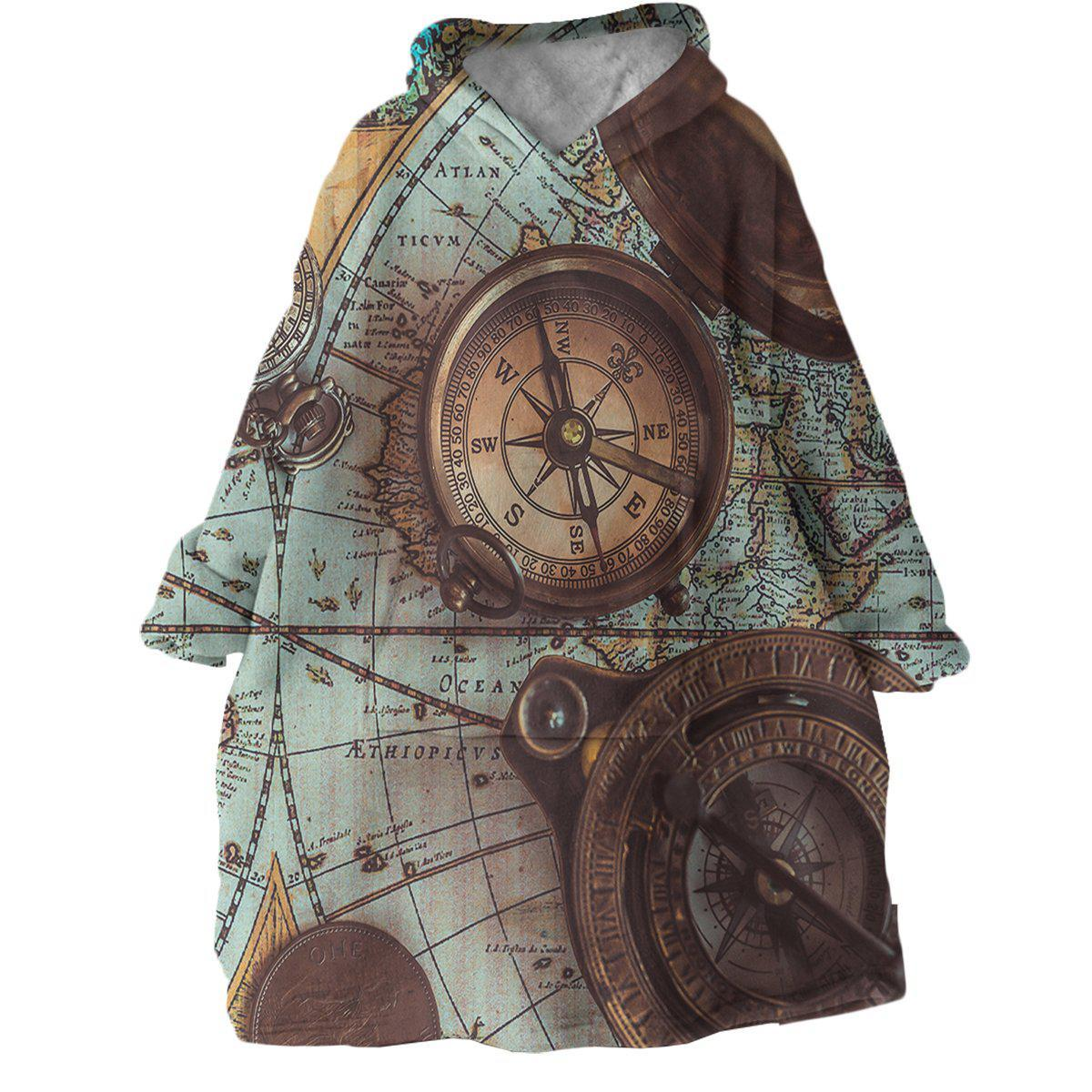The World Wanderer Wearable Blanket Hoodie-Coastal Passion