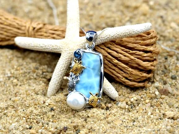 -Three Sea Turtles with Larimar, Blue Topaz and Pearl Beach Pendant - Only One Piece Created-Coastal Passion
