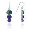 Earrings-Triple Oval Azurite Malachite Sterling Silver Drop Earrings-Coastal Passion