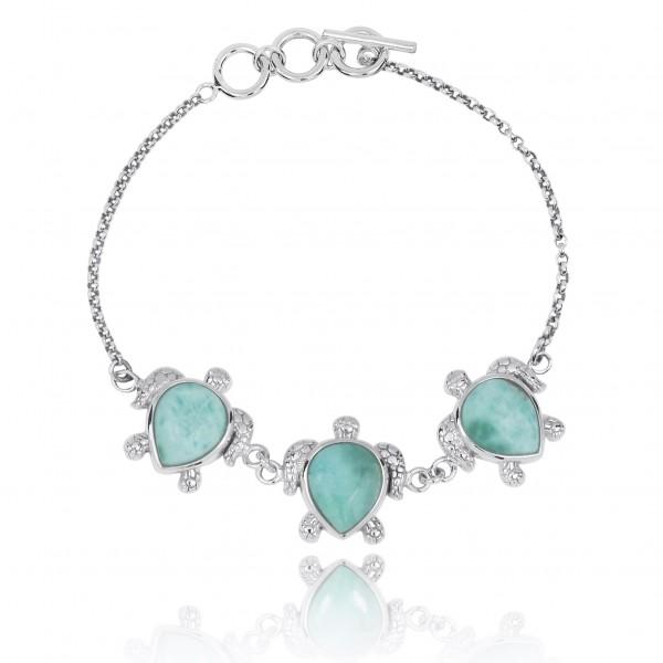Triple Turtle with Larimar Sterling Silver Bracelet