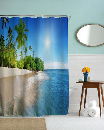 Tropical Beach Shower Curtain-Shower Curtain-Coastal Passion