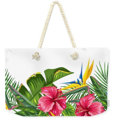Tropical Days Weekender Tote Bag-Cotton rope strap-Coastal Passion