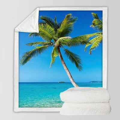 "Tropical Escape Soft Sherpa Blanket-Blanket-Oversize: Size 80"" x 60""-Coastal Passion"