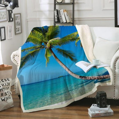 Tropical Escape Soft Sherpa Blanket-Blanket-Coastal Passion