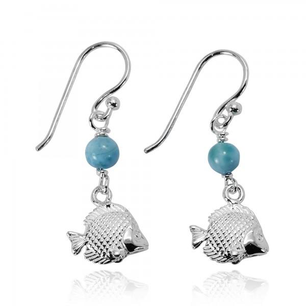 -Tropical Fish Earrings with Larimar-Coastal Passion
