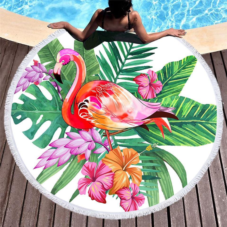 Tropical Flamingo Round Beach Towel