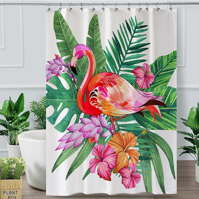 Tropical Flamingo Shower Curtain-Shower Curtain-Coastal Passion