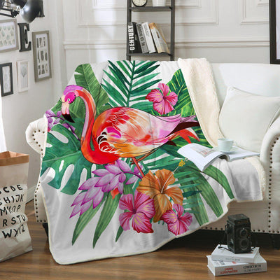 Tropical Flamingo Soft Sherpa Blanket-Blanket-Coastal Passion