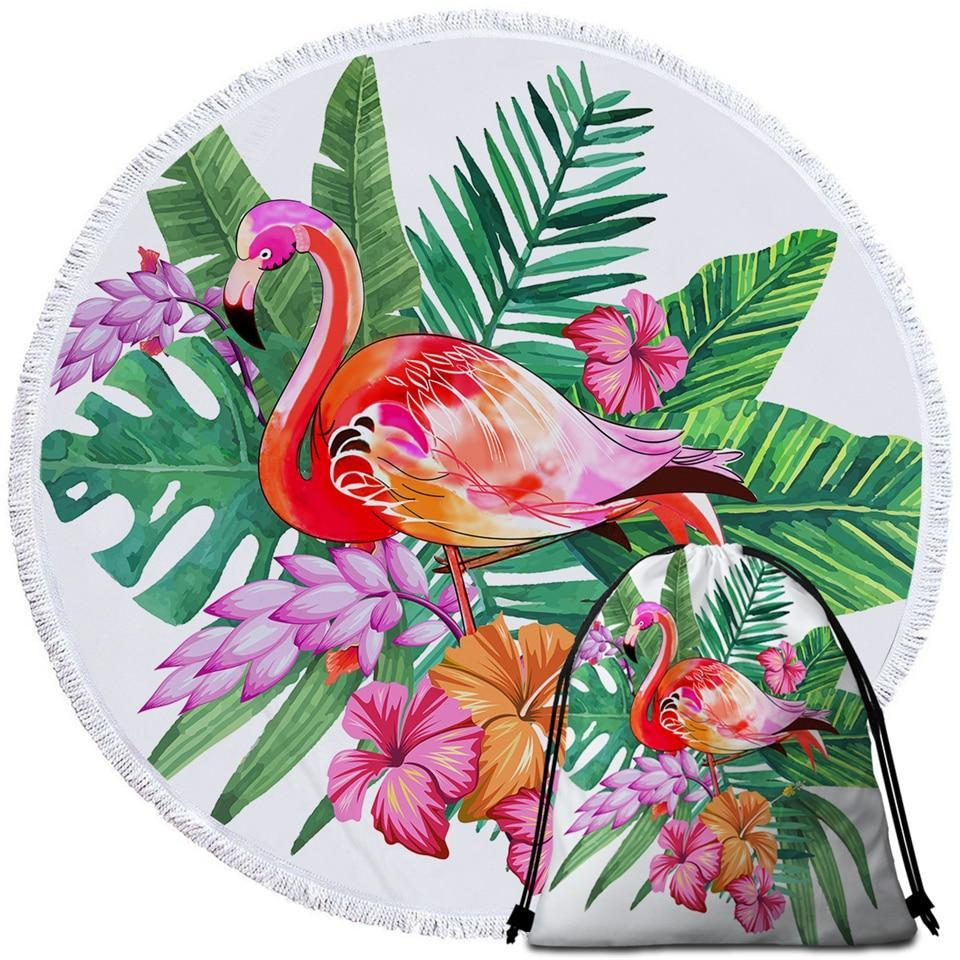 Round Beach Towel-Tropical Flamingo Towel + Backpack-Coastal Passion