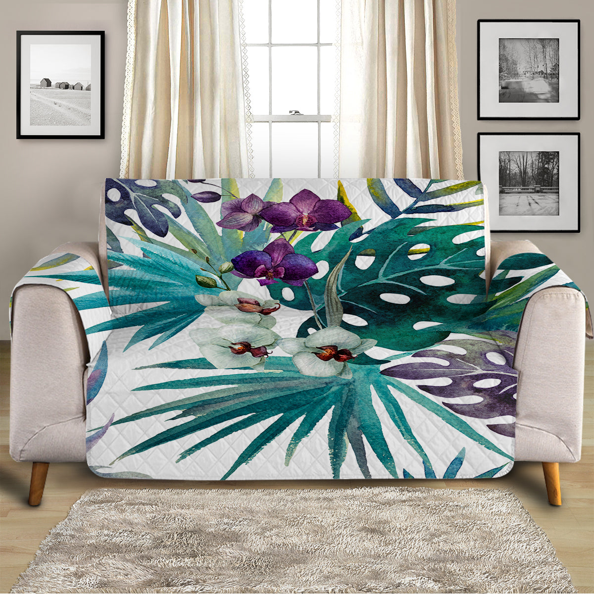 Tropical Orchids Sofa Cover