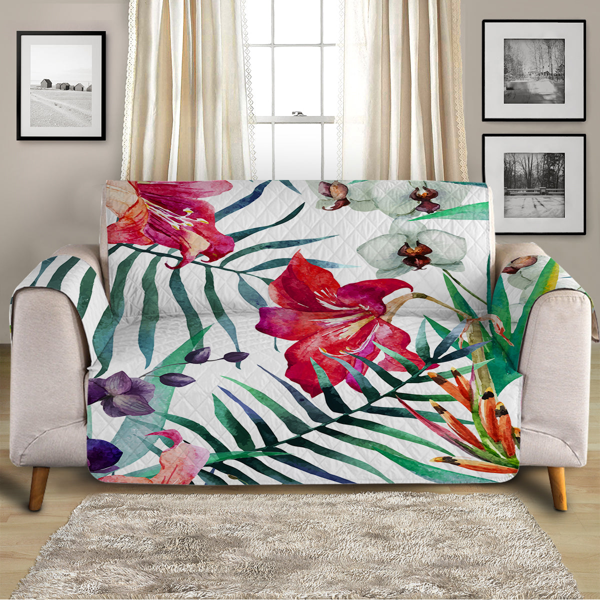 Tropical Floral Sofa Cover