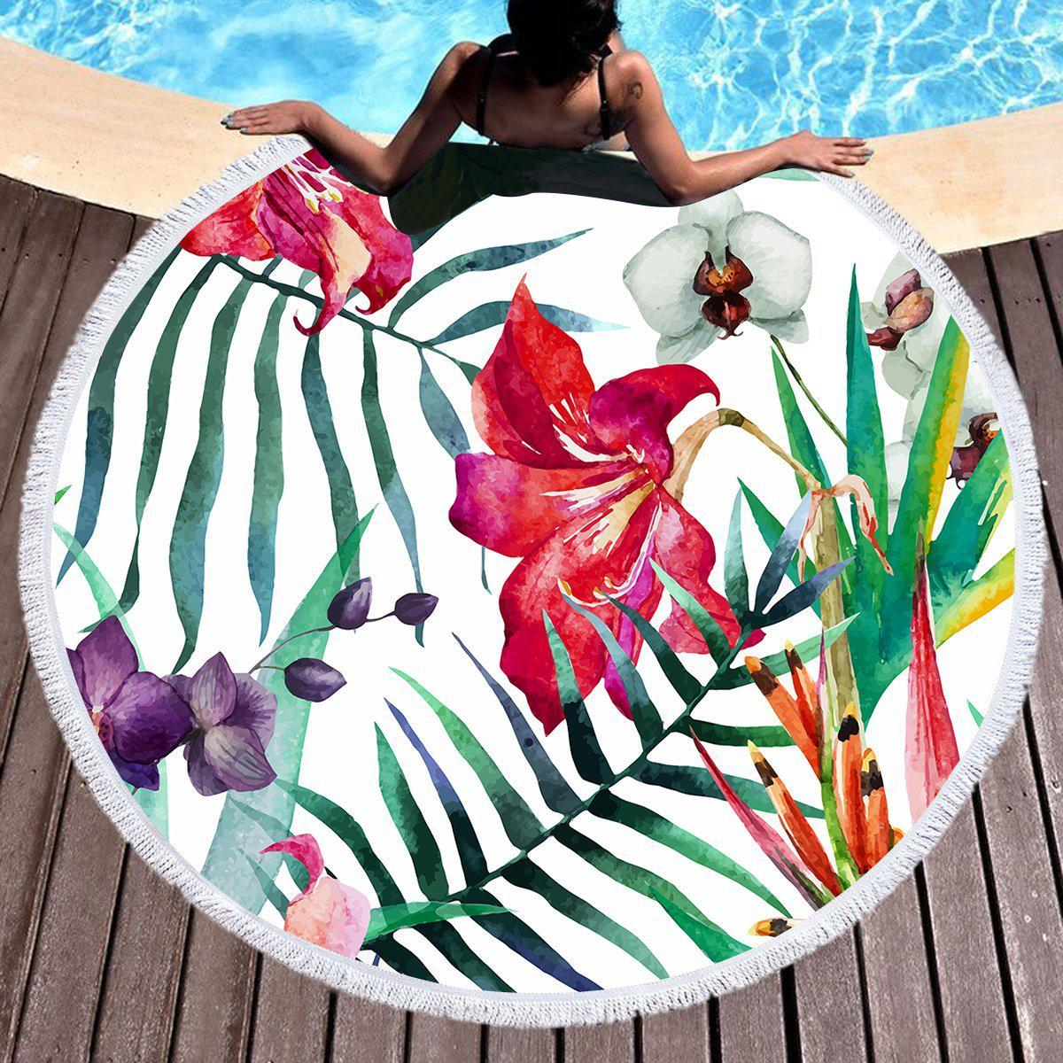 Tropical Floral Round Beach Towel