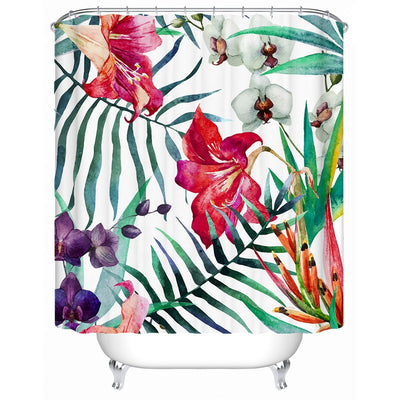 Shower Curtain-Tropical Floral Shower Curtain-Coastal Passion