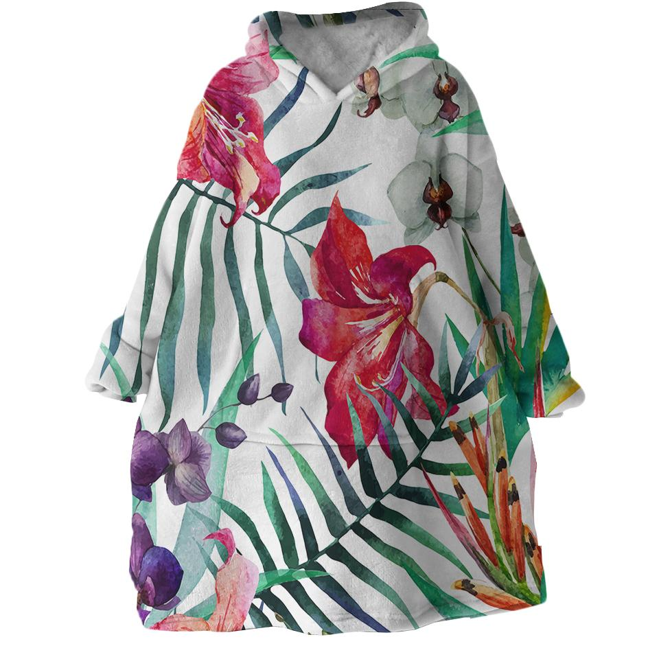 Tropical Floral Wearable Blanket Hoodie-Coastal Passion