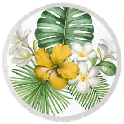 Round Beach Towel-Tropical Flowers Round Beach Towel-Coastal Passion