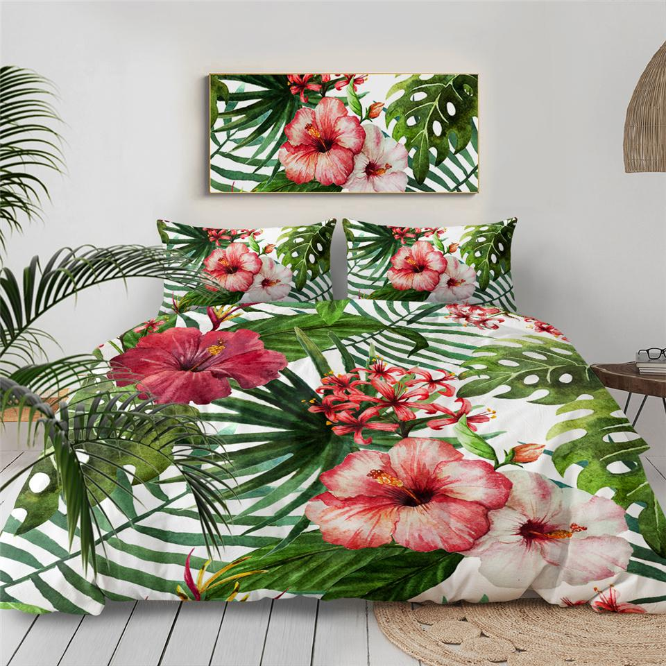 Duvet Comforter Bedding Set-Tropical Hibiscus Bedding Set-Coastal Passion