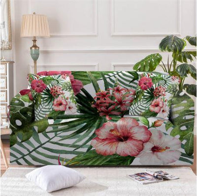 Sofa Slipcover-Tropical Hibiscus Couch Cover-Coastal Passion