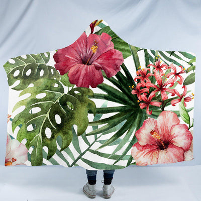 "Tropical Hibiscus Cozy Hooded Blanket-Fleece Hooded Blanket-Adults: Size 80"" x 60""-Coastal Passion"