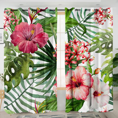 Tropical Hibiscus Living Room Curtains by Coastal Passion