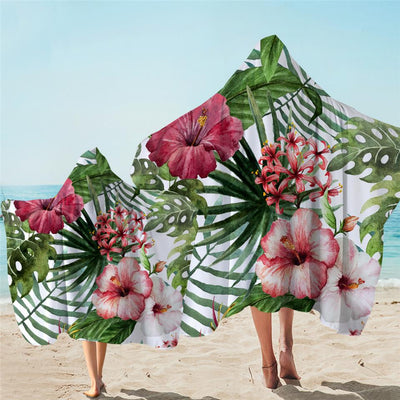 Hooded Beach Towel-Tropical Hibiscus Hooded Towel-Coastal Passion