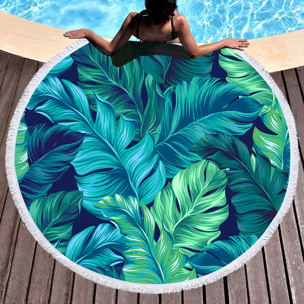 Tropical Lush Round Beach Towel