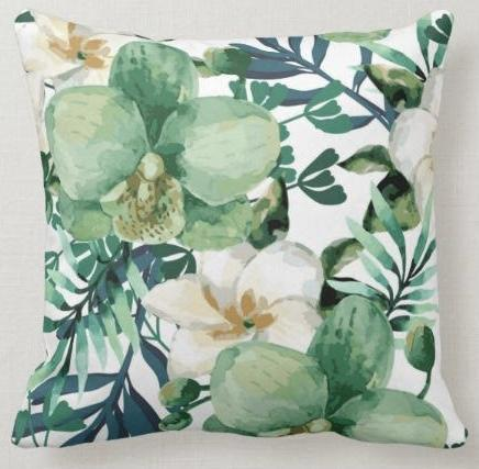 Tropical Orchid Flowers Pillow Cover-Coastal Passion