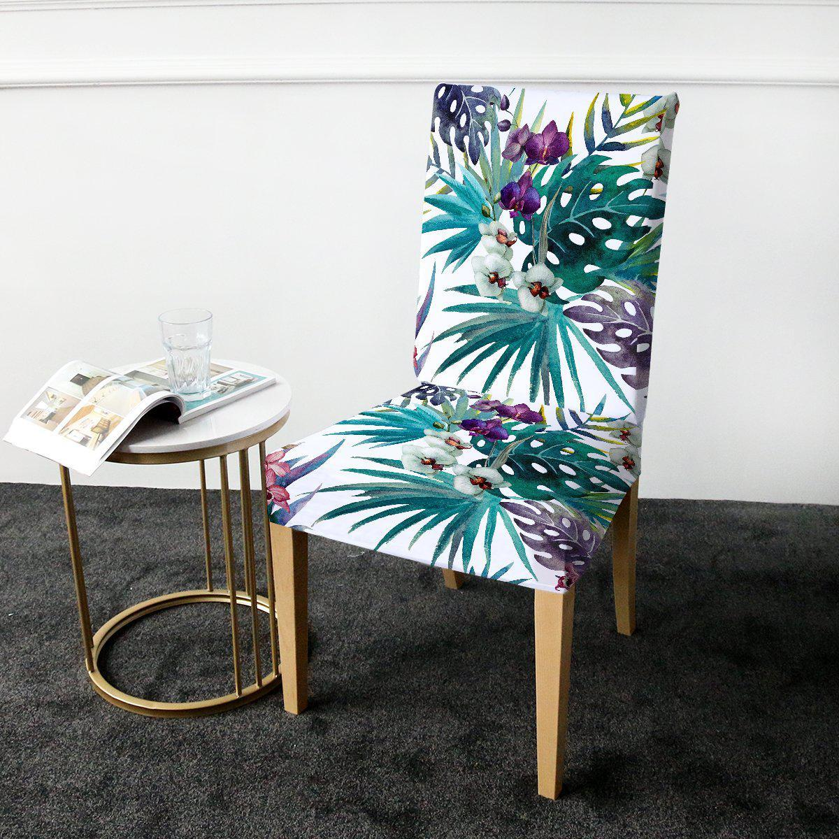 Dining Chair Cover-Tropical Orchids Chair Cover-Coastal Passion