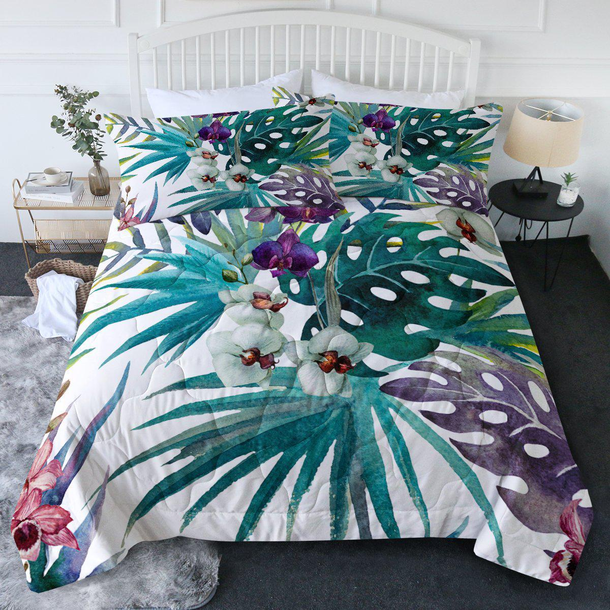Tropical Orchids Comforter Set-Coastal Passion